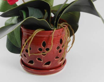 Ceramic orchid pot - orchid cachepot - pottery orchid pot - red flower orchid pot - large orchid pot  V165