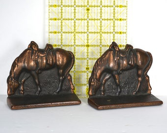 Vintage Cast Iron Horse Bookends, Verona Copper-washed Metal Book Holders, Pair of Bronzed Sculptural Horses, Artistic Desk Accessory