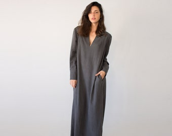 Japanese Kimono Robe, Abaya Dress, Grey Maxi Dress, Bohemian Clothes, Abaya Maxi Dress, Maxi Cotton Dress, Womens Robe, Cover Up Linen Dress