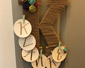 Decorative initial and last name wall hanger
