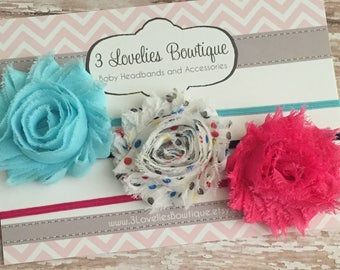 Baby Headband, Set of 3 Shabby Chic Headbands, Newborn Headband, Children's Headband, Adult Headband, Baby Girl Headband, Infant Headband