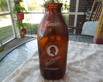 Vintage Milk Bottle.  Gail Borden. One Quart, Brown Glass Milk Bottle in Excellent Condition