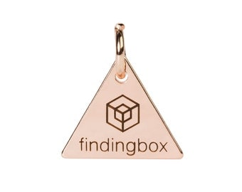 Rose Gold Triangle Jewelry Tag, Laser Engraved Logo on Triangle Tags Sequins, 15x15mm, 19 Gauge, Pkg of 100 PCS, F14N.RG04.P100.C