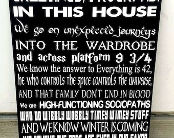 We do geek sign, In This House We Do Geek, Geek Wood Sign, Home Decor, Tron, Pokemon, Hobbit, Game of Thrones, Guardians of the Galaxy