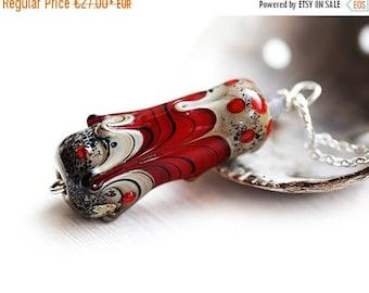 50%off SALE Red Pendant, Red and Grey, Tube bead, Lampwork glass Pendant, Red jewelry, Handmade Lampwork Jewelry, Minimalist, SRA Lampwork