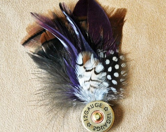 S012 Feather Hat/Lapel Pin, with Shotgun Shell, FREE Shipping in US