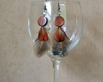 E11 Leather & Feather Earrings...FREE SHIPPING in US