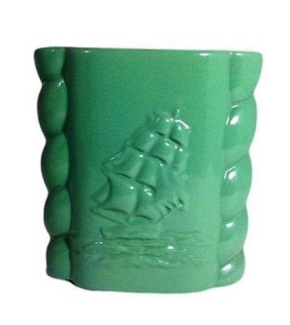Abingdon Pottery Nautical Vase Green Clipper Ship 7 Inch Vintage Art Deco USA