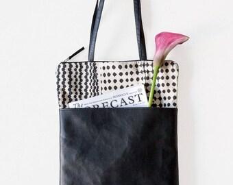 Black tote bag with pockets, Faux leather shoulder bag, Elegant zipper tote bag, Printed Sac vegan, Boss lady tote bag, Mother's Day Gift