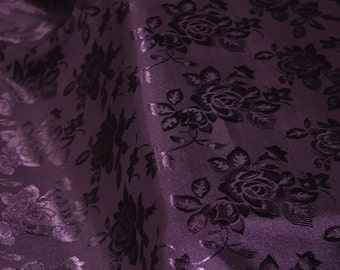 Purple Floral Jacquard Brocade Satin Fabric By the Yard Style 3006