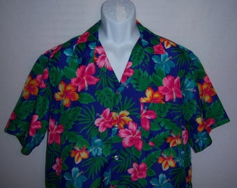 Vintage L Hawaii Designs Hawaiian Purple Pink Yellow Green Turquoise Blue Hibiscus Tropical Flower Floral Print Shirt XL Extra Large
