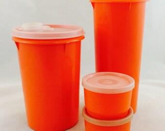 Vintage Orange Tupperware Pitchers and Snack Containers, Retro Orange Tupperware