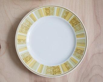 Set of 4 Franciscan Whitestone Ware Dessert Plates in Antigua Pattern yellow tiki design - Small plates Saucers MCM Mid-century