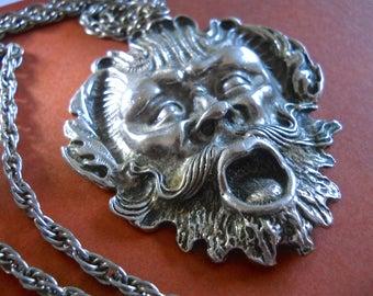 Ancient Face-Mask Sterling Silver Pendant Necklace, Art Nouveau, Vintage