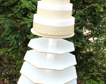 Donut Stand Octagon with Round Top Round Plate White Melamine Wood 100 Standard Cupcakes Dessert Centerpiece Party Wedding Birthday