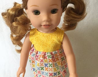"""Doll Clothes - Wellie Wishers Outfits - Set for 14"""" Dolls - Yellow - Capris Set for Doll"""