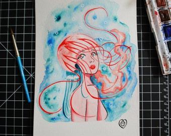 Jellyfish Mermaid Original Illustration