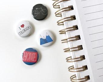 Set of Colorado Buttons. Button. Colorado. Pinback button set. I love Colorado. Pins.