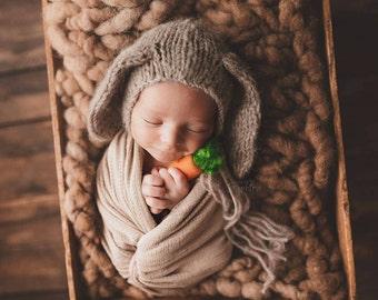 Newborn Bunny Bonnet, Luxury knit Baby Bunny Bonnet, Floppy Ear Bunny Bonnet, Easter Photoprop, Newborn photoprop, Girl Bonnet, Boy Bonnet