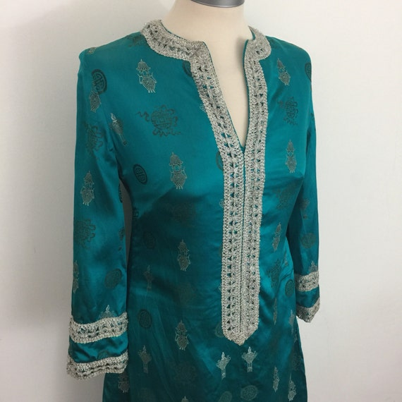 1960s dress vintage Chinese silk dress turquoise kaftan style UK 10 8 traditional Eastern silk caftan maxi dress