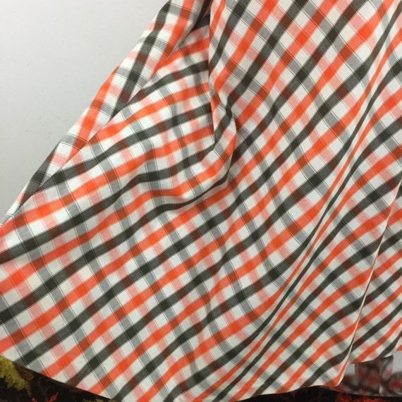 vintage maxi skirt plaid orange brown white A line flare hippy festival long boho high waist St Michael 14 checkered summer tartan gingham