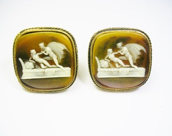 VINTAGE DANTE CUFFLNKS * Cameo Incolay Stone Cuff Links * Museum Masterpiece Collection Greek Mythology