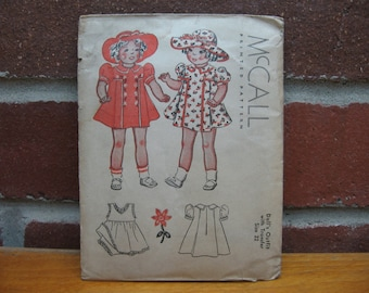 1937 mccall doll outfit size 22 vintage sewing pattern dress hat clothes 1930s