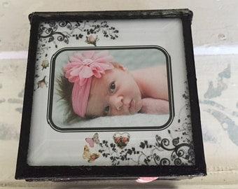 Baby infant newborn stained glass memory keepsake customized box