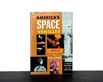 Vintage Space Book - Outer Space Exploration - Space Race - Space Vehicles - Rocket Science - Satellites -Spaceship Decor -Outer Space Decor