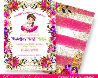 Fiesta Birthday Invitation, Mexican Fiesta Invitation, Mexican Baby Shower,  First Birthday Fiesta