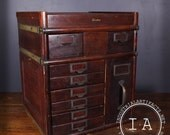 Vintage Industrial Globe Wernicke 9 Drawer Office Filing Cabinet