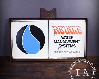 Vintage Porcelain Enamel Reinke Water Management System Advertising Sign