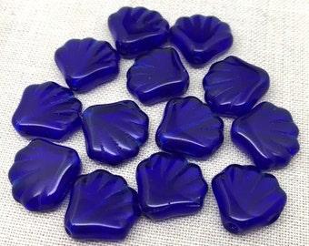 12 Vintage Cobalt Blue Shell Glass Beads 14mm