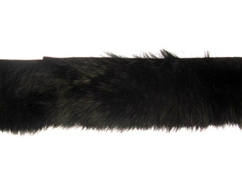 Rabbit Fur Trim Stripping - Black