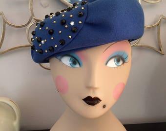 Blue Adolfo II Beret Hat