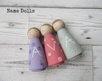 Personalised Gift, Gifts for Girls, Nursery Decor, Name Dolls, Peg Dolls, Personalised Home Decor, Pretty Peg Dolls, Wooden Decorative Dolls