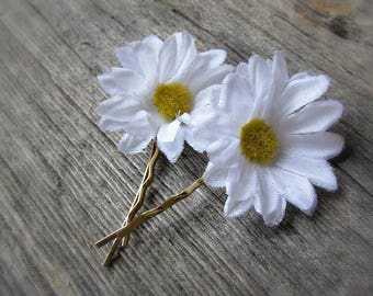 White Daisy Hair Pins, Daisy Bobby Pins, Silk Flower Hair Pins, Floral Hair Pins, Flower Bobby Pins, Wedding Bridal Prom Hair Accessories