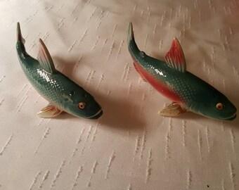 Vintage Salmon Figural Salt and Pepper Shakers marked Japan
