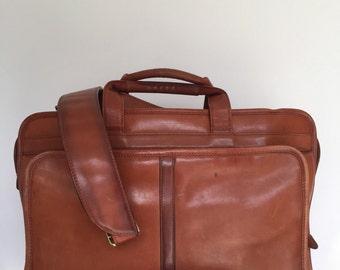 Vintage Brown Leather Messenger/Briefcase  Bag Ralph Lauren