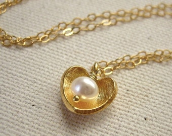 Gold Heart Necklace with Pearl, Brushed Gold Vermeil Charm - Love Jewelry