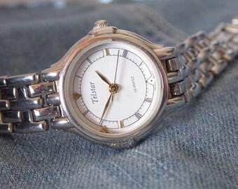 Ladies Vintage Bracelet Watch, Metal Link Bracelet Watch,