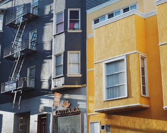"""San Francisco Architecture, Blue and Yellow Buildings, Street Photograph, Travel Photography, Wall Art 8"""" x 10"""""""