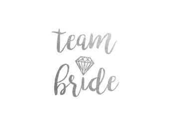 Team Bride Silver Metallic Temporary Tattoo   Bachelorette Party Favor   Bridesmaid Wedding Tattoo   Flash Tattoo   Hen Bridal Party Gift