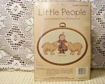 Little People Cross Stitch Kit - I Love Ewes By Dianne L. Patterson - Unopened Kit