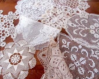 Vintage Doilies,  Crochet Napkins , Table  Linen , Antique Lace Doilies - set of 9.