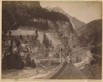 Gotthard Tunnel Switzerland mountain railway antique albumen photo Sommer