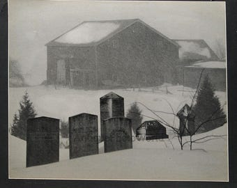Cemetery graveyard in snow storm vintage art photo by J. Goldsack