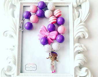 Purple And Pink Character Chunky Necklaces, Character Chunky Bubblegum Necklace, Character Custom Gumball Necklace