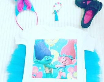Girls Troll Tutu Sets, Girl's Birthday Tutu Set, Birthday Troll Shirts, Personalized Tutu Sets, Princess Tutu Sets, 1st Birthday tutu Set