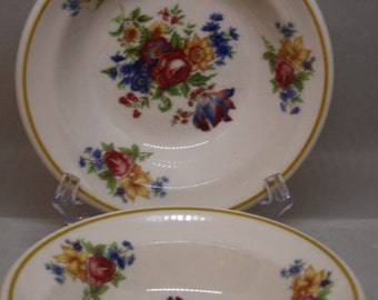 2 Vintage Syracuse China Bowls-Restaurant/Hotel Ware in Colonial Multi Floral Pattern